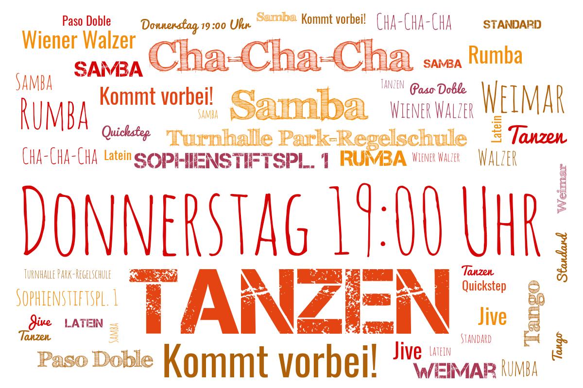 Weimar Tanzen Lernen, Wiener Walzer, Paso Doble, Samba, Cha-Cha-Cha, Standard, Latein, Rumba, Walzer, Quickstep, Foxtrott, Tango Jive, Discofox, Tanzen Lernen. Tanzen als Sport. Kommt vorbei!